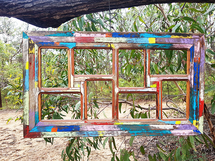 Wombat Happy Frame a Boho Chic Funky Colourful Picture Frame with 8 photos.