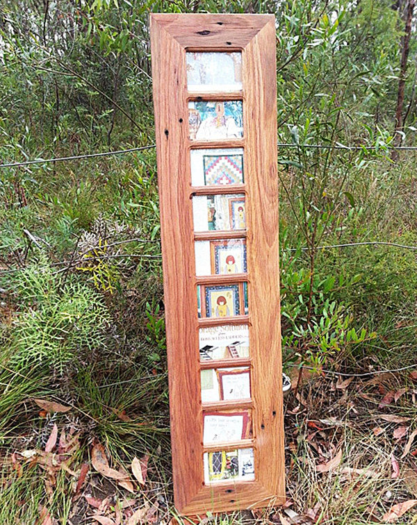 Salvaged Brown Gum Wooden Photo Frame with 10 Photos