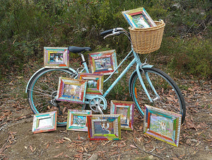Bike and Happy Coloured Picture Frames Eco Friendly Boho Chic Style Single Picture Frames