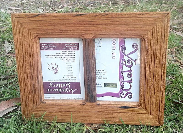 Rustic Recycled Timber Photo Frame with 2 photo openings