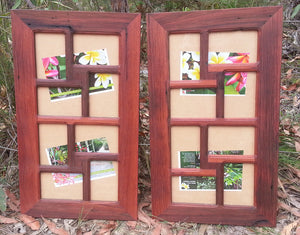 Recycled Timber Photo Frames for 8 pictures in red gum timber and hand made in Australia