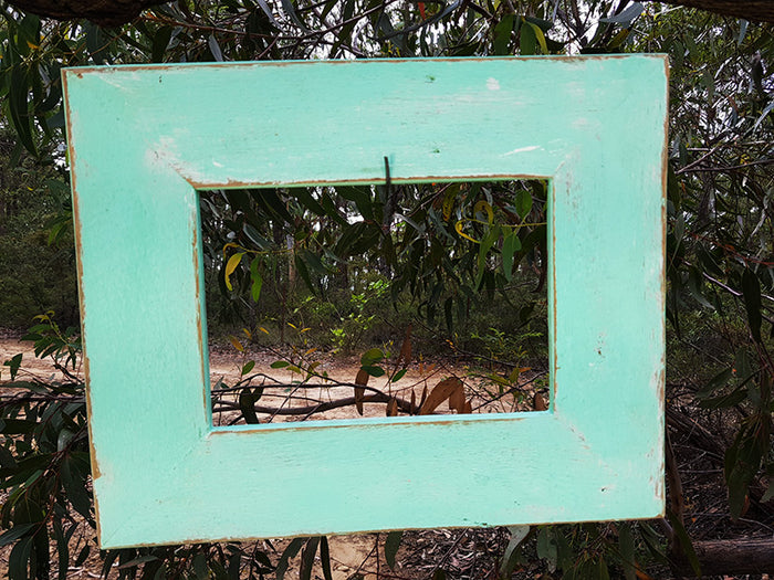 Funky and Fun Boho Chic Aqua Blue handmade Recycled Timber Photo Frame all sizes