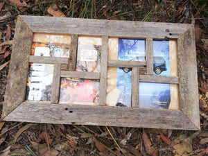 Weathered Rustic Grey Fence look Australian made Recycled Timber 8 opening multi photo collage picture Frame