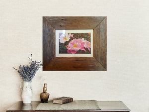9cm wide rustic grey single frame with 3cm antique white mat and artprint showing peonies