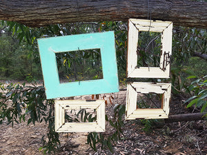 Australian Recycled Timber Single Picture Frames, one Aqua blue and 3 Vintage White