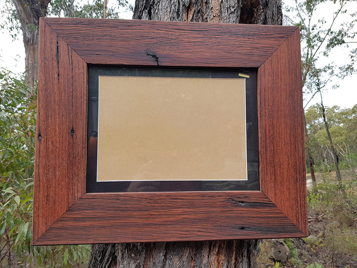 Single Recycled Timber Photo Frames with Black Mat