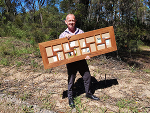 Happy Customer with a 16 opening Mid Brown Gum Colour Recycled Timber Multi Photo Collage Frame