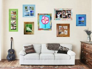 Fun-Photo-Collage-Wall-with-Eco-friendly-recycled-timber-photo-frames