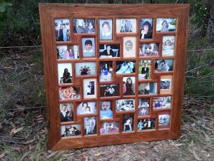 Large family photo collage frame recycled timber