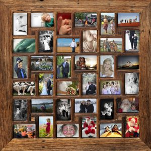 Multiple 36 holes Salvaged Wooden Family Photo Frame