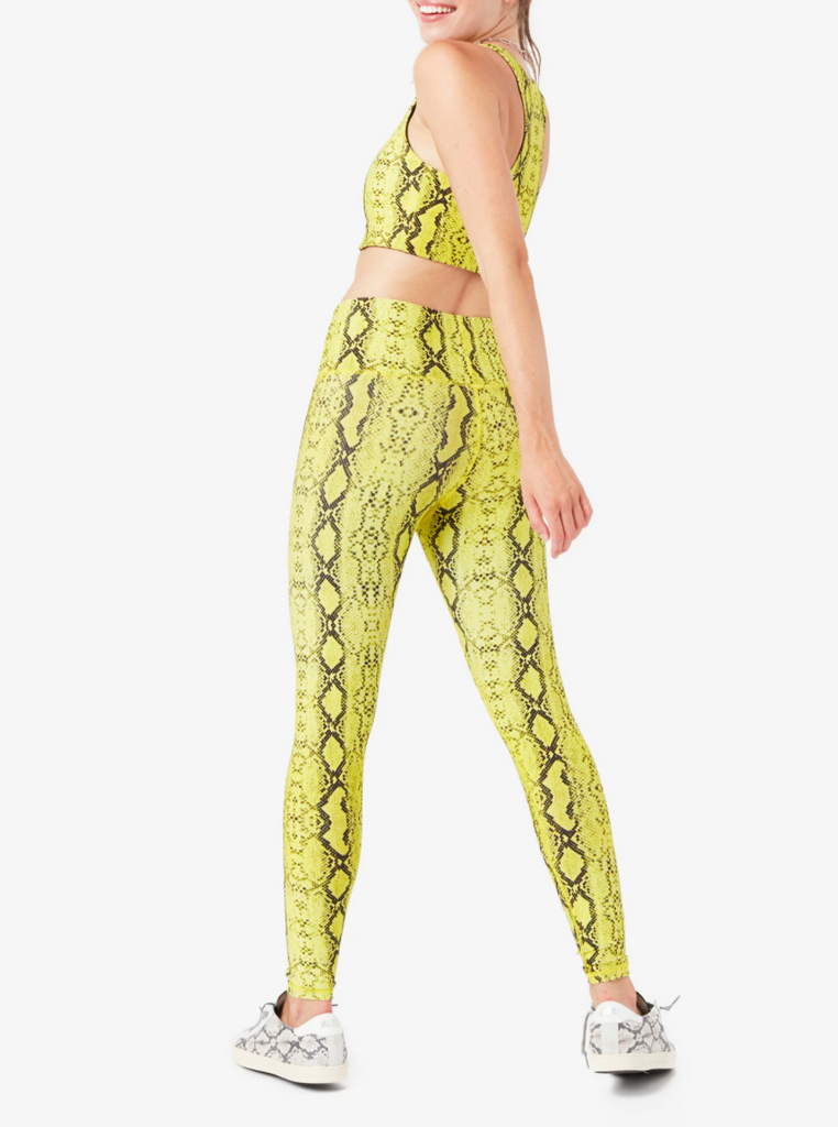 Terez Lime Python High Rise Double Knit Leggings - Game Set