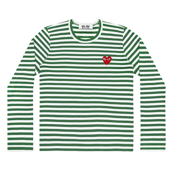 Comme des Garçons Play Men's LS Green striped Genser Grønn - modostore.no