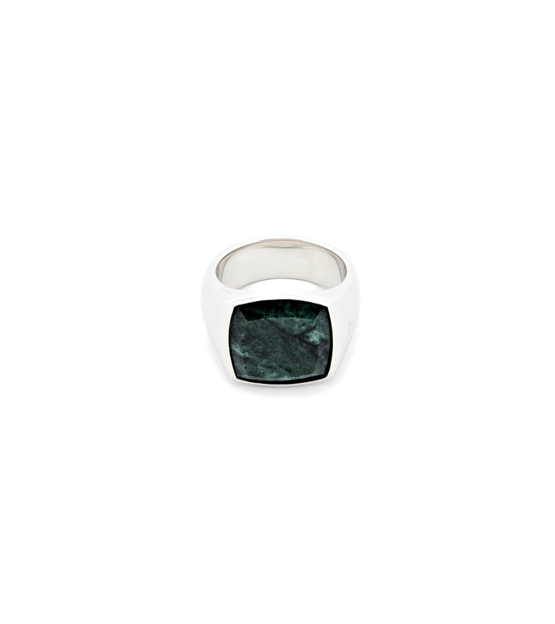 Tom Wood Jewellery The Cushion Green Marble Ring Sølv
