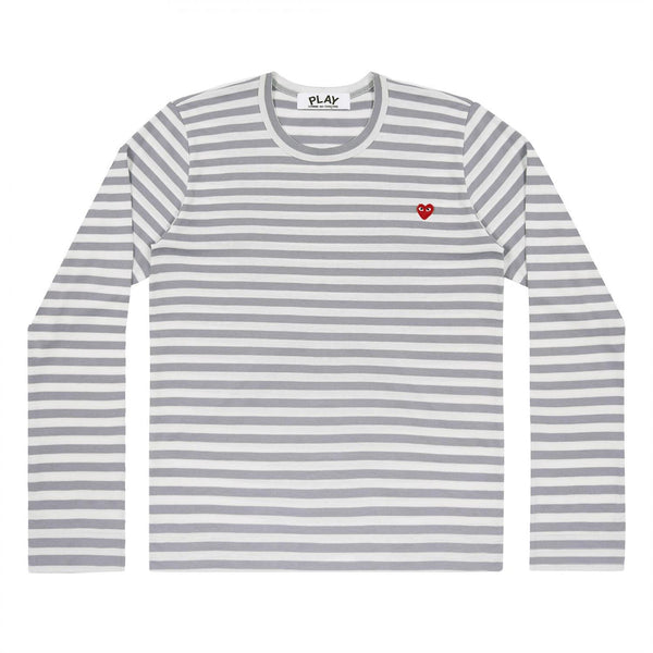 Comme des Garcons Play LS Men's Striped Grey/W Genser Grå - modostore.no