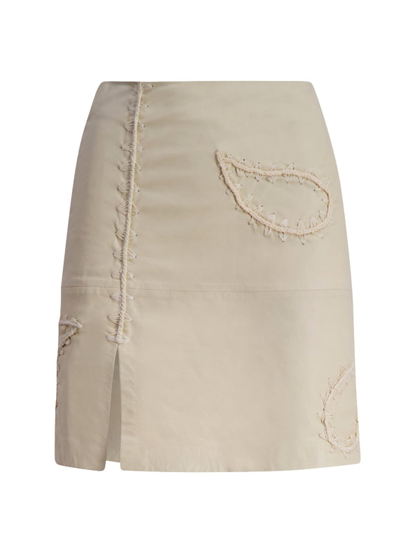 Holzweiler Belle leather skirt paisley Skjørt Ecru - modostore.no