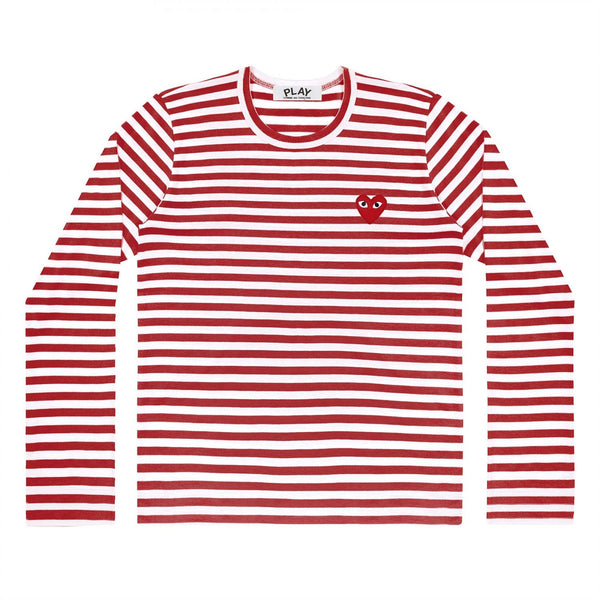 Comme des Garçons Play Striped Men's Red/W LS Genser Rød - modostore.no