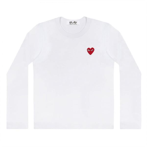 Comme des Garcons Play LS Ladies'  White Genser Hvit - modostore.no