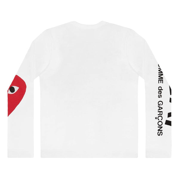 Comme des Garcons Play LS Men's Logo Sleeve Genser Hvit - modostore.no