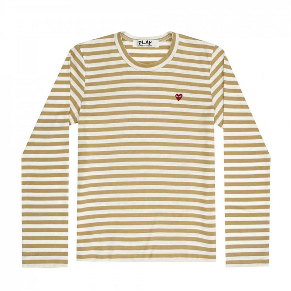 Comme des Garcons Play LS Men's  Striped Khaki/W Genser Khaki - modostore.no