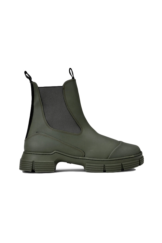 Ganni City Boot Recycled Rubber Sko Mørkegrønn - modostore.no