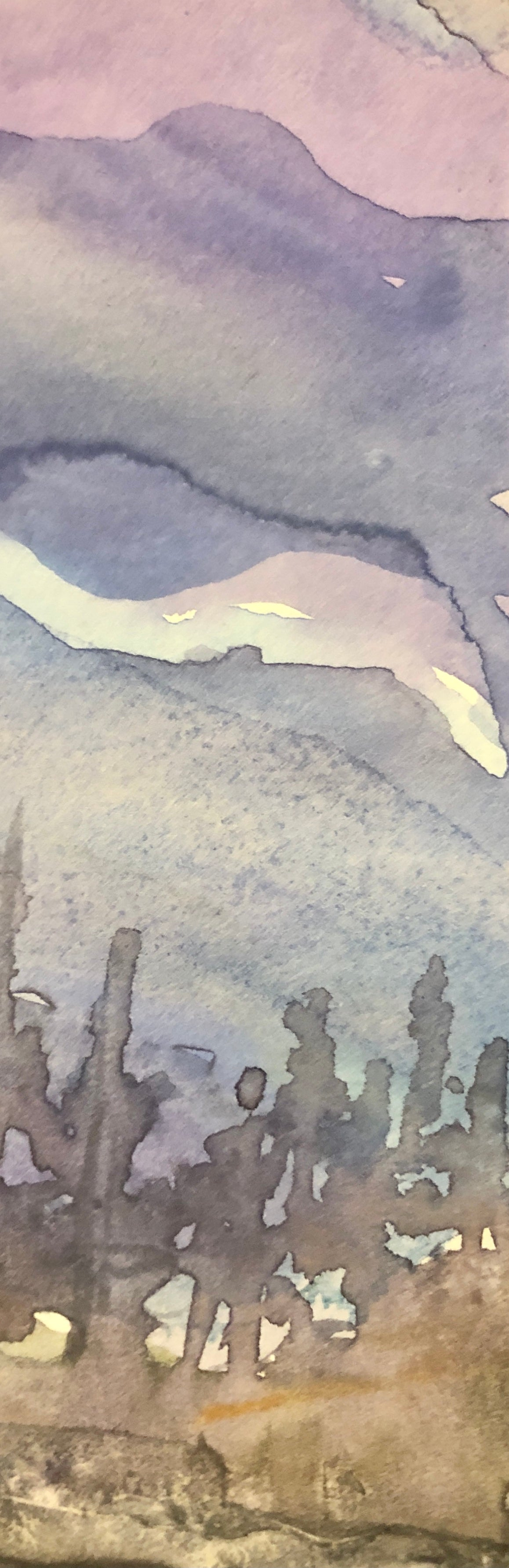 water colour detail - trees under purple sky