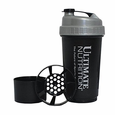Ultimate Nutrition Black and Grey Shaker 600 ml.