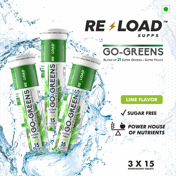 Reload Supps - Go - Greens - Pack of 3