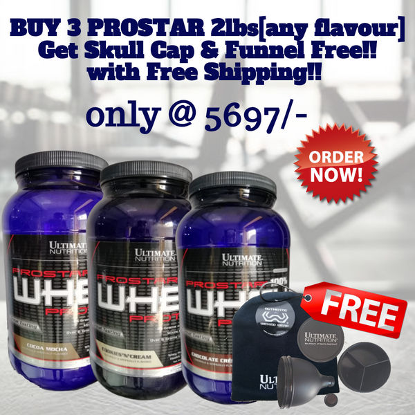 Ultimate Nutrition Prostar Chocolate 2lbs [Pack of 3] & Get Skull Cap & Funnel Free!!