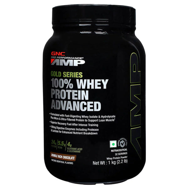 GNC AMP Gold 100% Whey Protein Adv Powder Chocolate