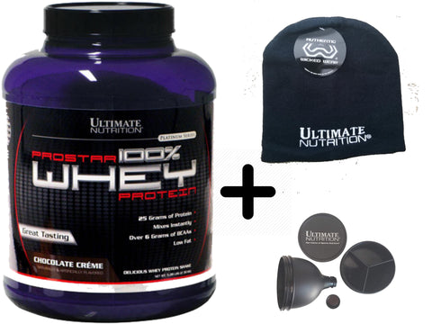 Ultimate Prostar 100% Whey Protein Chocolate 5 LB (Ultimate Nutrition Skull Cap & Funnel free!!)