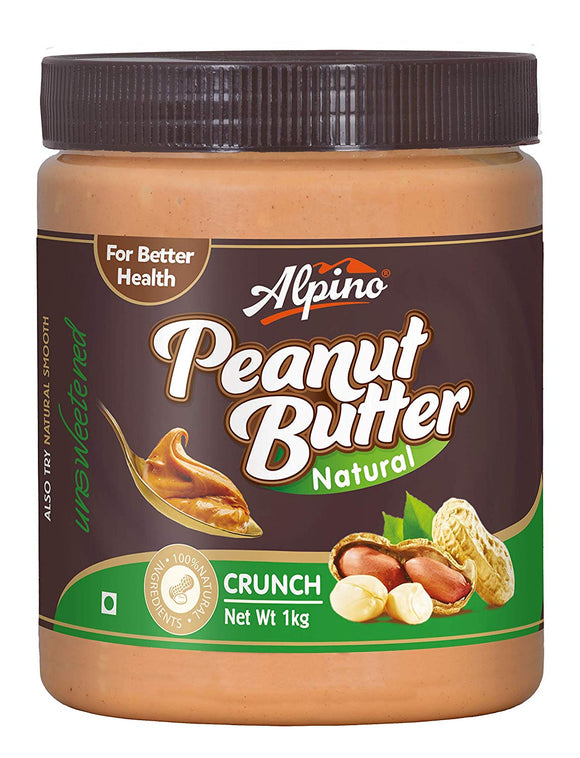ALPINO NATURAL PEANUT BUTTER CRUNCH 1KG (UNSWEETENED) [PACK OF 6]