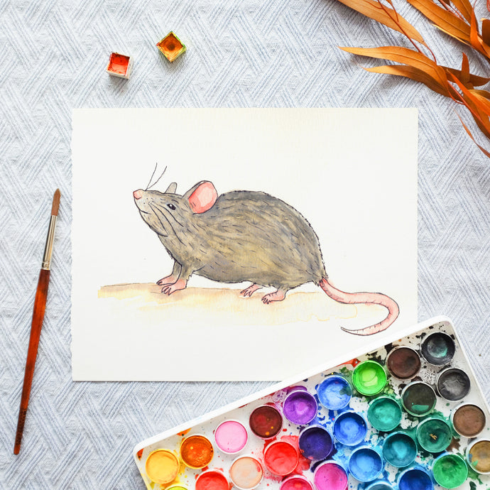 Watercolor Template - Mouse