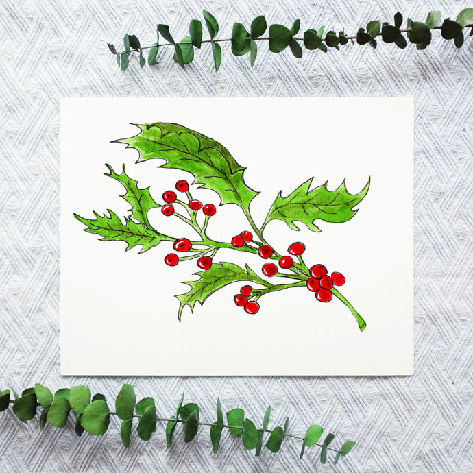 Watercolor Template - Holly Berries