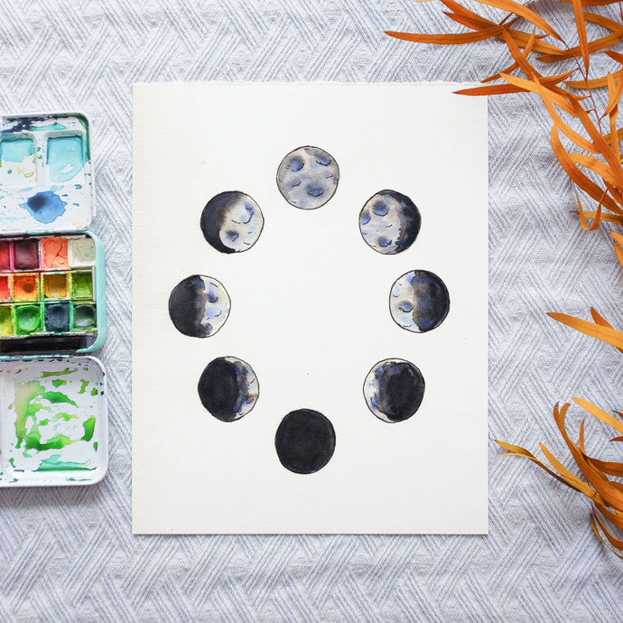 Watercolor Template - Moon Phases