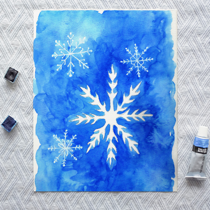 Watercolor Template - Snowflakes