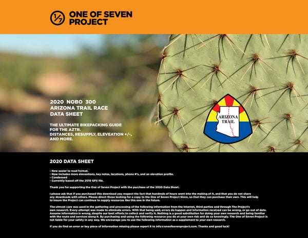 2020 Arizona Trail 300 - NOBO Data Sheet