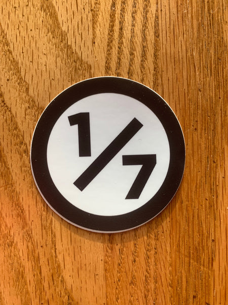 "One of Seven Project - 3"" Round Sticker - Black w/ white background"