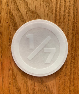 "One of Seven Project - 3"" Round Clear Sticker - White"