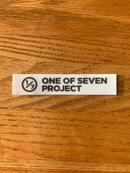 "One of Seven Project - 1x4"" Clear Sticker - Black"