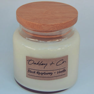 BLACK RASPBERRY + VANILLA - 450g Soy Candle with Wooden Lid
