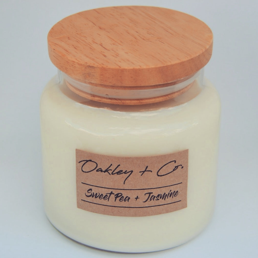 SWEET PEA + JASMINE - 450g Soy Candle with Wooden Lid