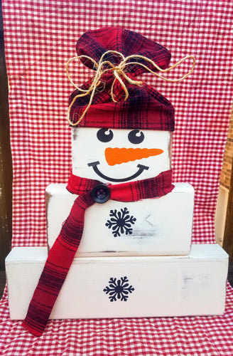 Farmhouse Vintage Real Wooden Block Snowman with Flannel Hat and Scarf and painted Snowflake Buttons