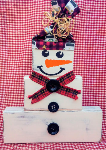 Farmhouse Vintage Real Wooden Block Snowman with Hat, Scarf and Buttons