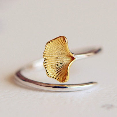 ' Ginkgo ' 100% 925 sterling silver sizable ring