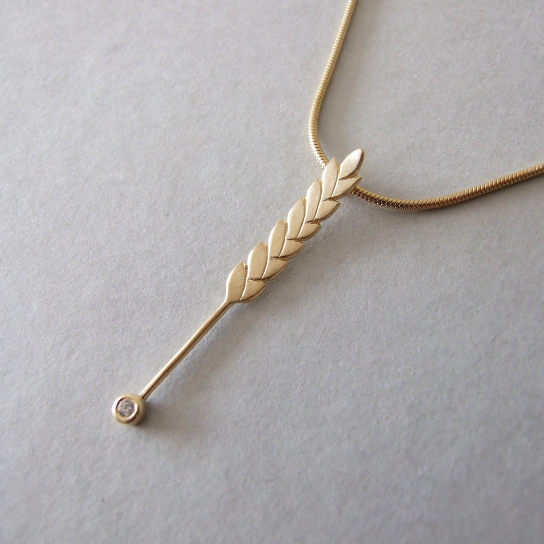 Gold Plated Single Wheat Necklace with Cubic Zirconia Stone