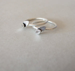 Trio of Silver Pearl and Leaf Stacking Rings
