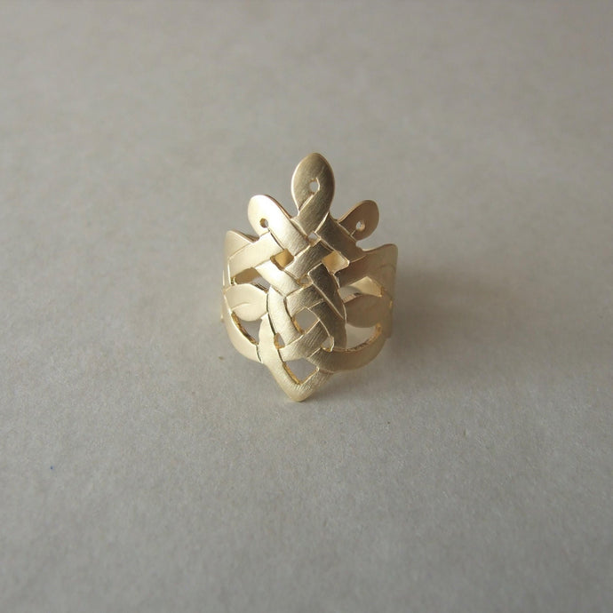 14k Gold Celtic Crown Ring
