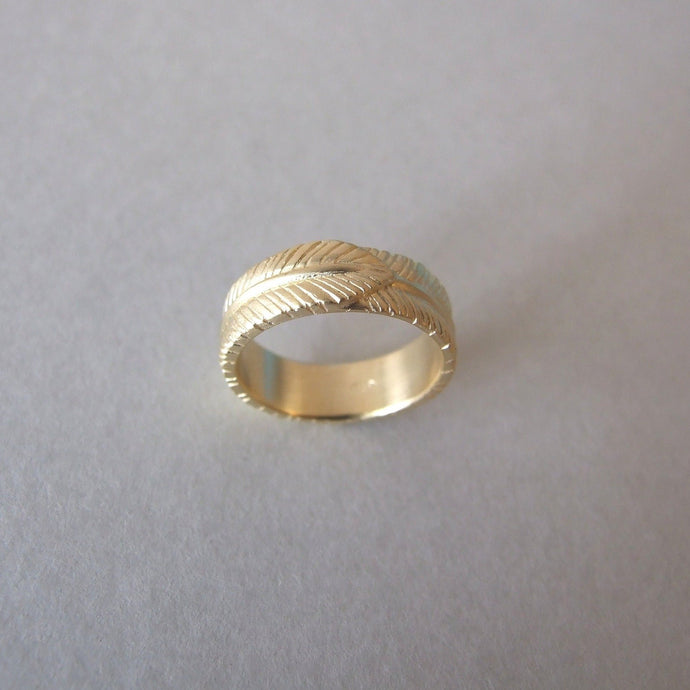 14k Gold Feather Wedding Ring