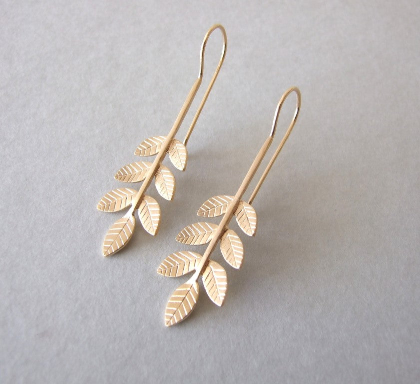 Long Gold Plated Silver Dangle Earrings