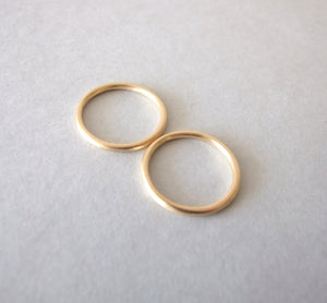 Set of Two 14k Gold Minimalist Wedding Bands